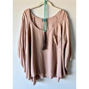 Taupe Brown Flowing Scoop Neck Blouse Top